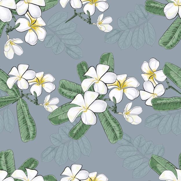 Vintage flowers with plumeria seamless pattern Premium Vector