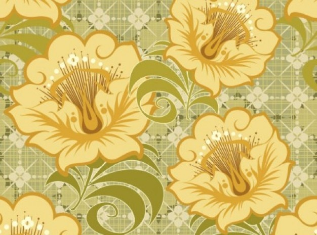 Vintage flowers yellow-colored green pattern\ background
