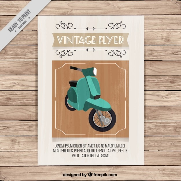 Vintage flyer of a green motorbike Free Vector