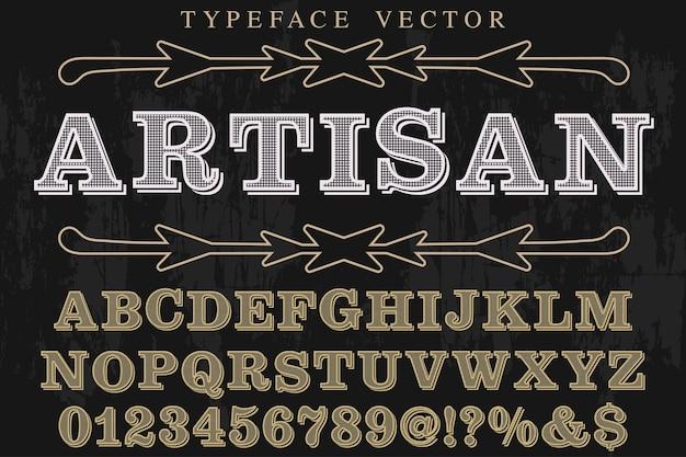Vintage font handcrafted artisan Premium Vector