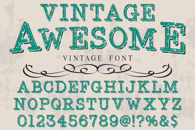 Vintage font label design awesome Premium Vector