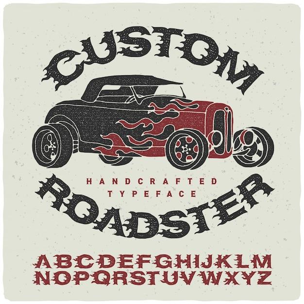 Vintage font set with roadser illustration Free Vector