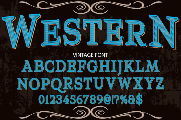 Vintage font typeface typography font design western Premium Vector