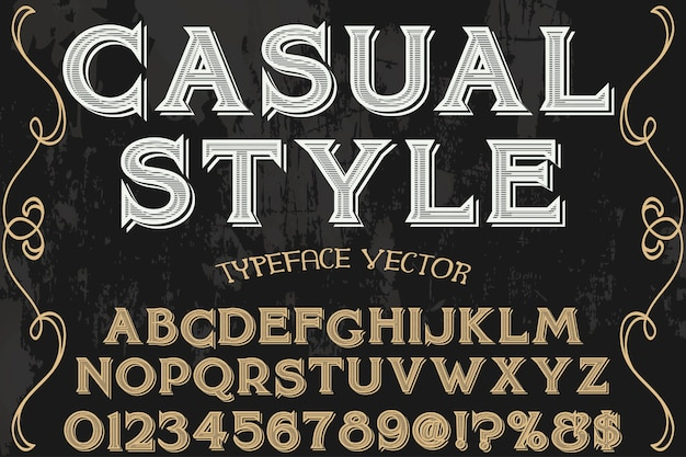 Vintage font typography font design casual style Premium Vector