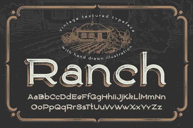 Vintage font with textured effect and ranch illustration Free Vector