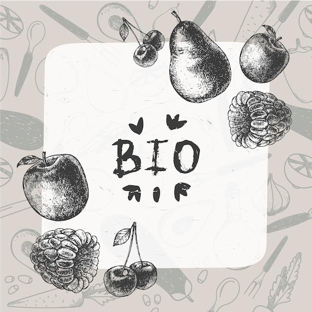 ヴィンテージ食品イラスト。手描きのバナー、カード、パターンのチラシ。刻まれたスタイルのフルーツとベリーのフレーム Premiumベクター