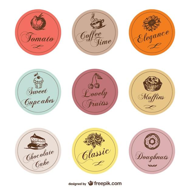 Vintage food labels Free Vector
