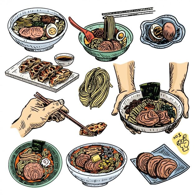 ヴィンテージ料理スケッチ、手描き日本のラーメンメニューセット Premiumベクター