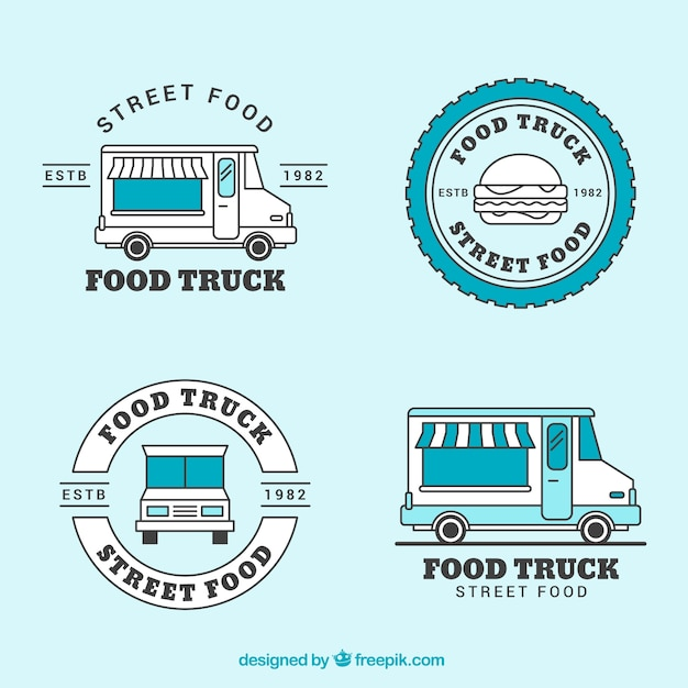 Vintage food truck logo collection