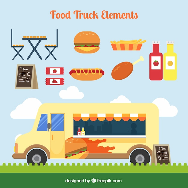 Vintage Food Truck With Fast Free Vector