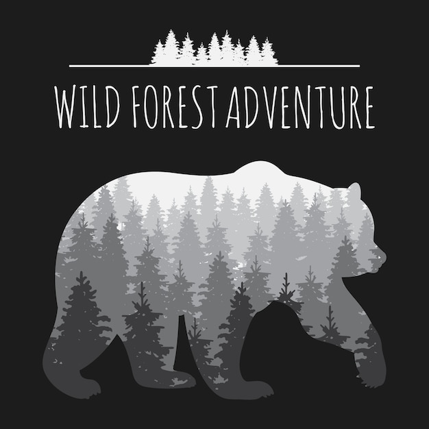 Vintage forest panorama in bear silhouette Premium Vector