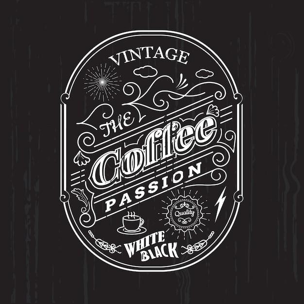 Vintage frame border coffee label design badge elements vector Premium Vector
