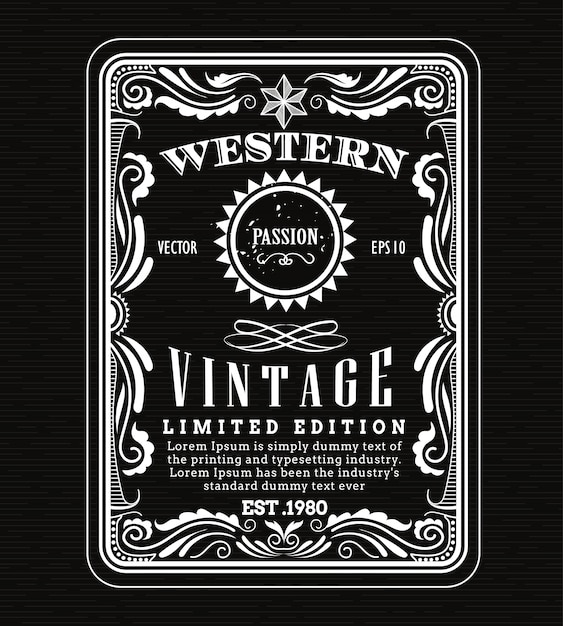 Vintage frame border western label retro frame hand drawn Premium Vector