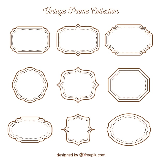 Vintage frame collection with different ornaments Free Vector