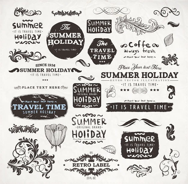 vintage frame decoration ornate typographic Premium Vector