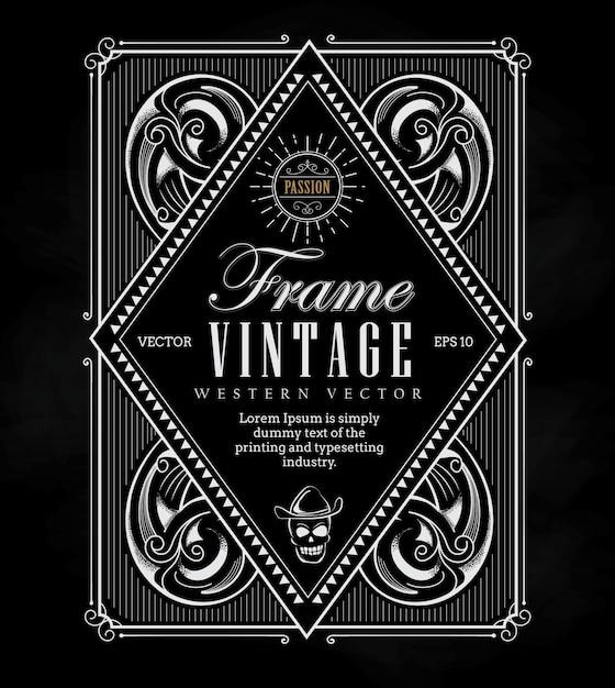 Vintage frame label border western retro engraving antique Premium Vector