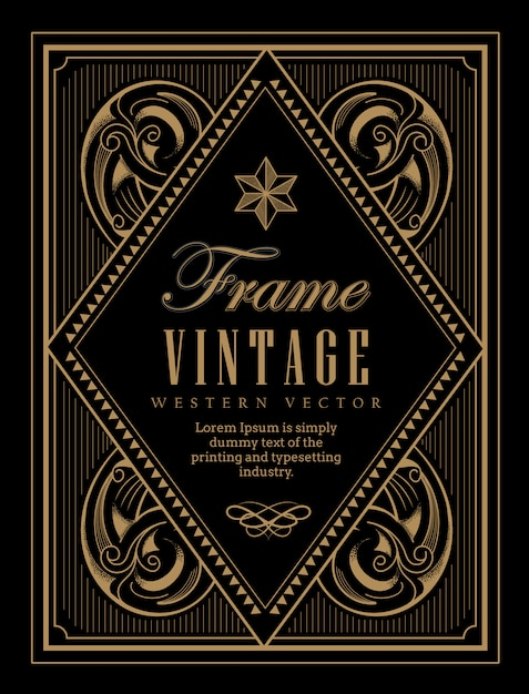 Vintage frame label western retro border engraving antique Premium Vector