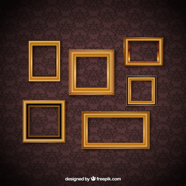 Vintage frame set and decorative wallpaper Free Vector
