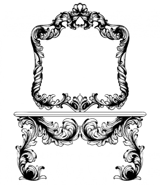 Vintage frame and table line art Premium Vector