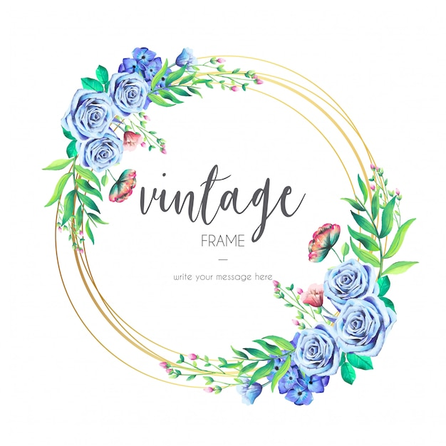 Vintage Frame with Blue Flowers Free Vector