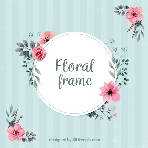Vintage frame with floral decoration Free Vector