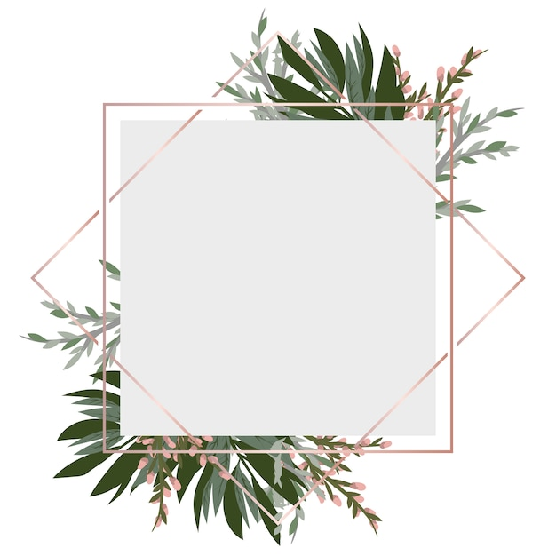 Vintage frame with flowers Premium Vector