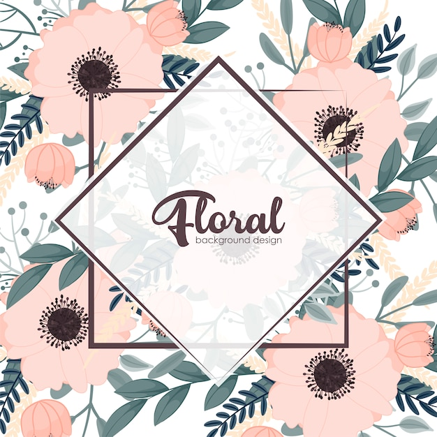 Vintage frame with flowers Free Vector