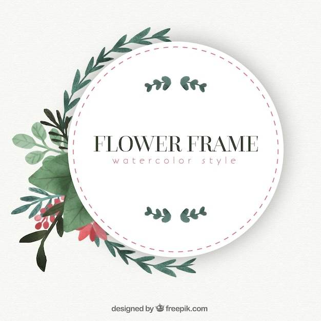 vintage frame with watercolor flowers