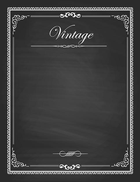 Vintage frames, blank black chalkboard design Premium Vector