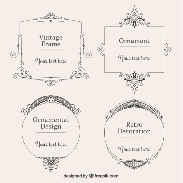vintage frames in different shapes set Vector   Free Download