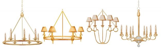 수채화 샹들리에의 빈티지 프레임 세트입니다. 바로크 양식의 우아한 장식. 프리미엄 벡터