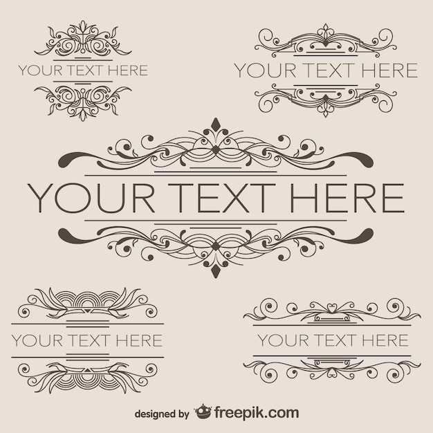 Vintage frames with swirls vector free download