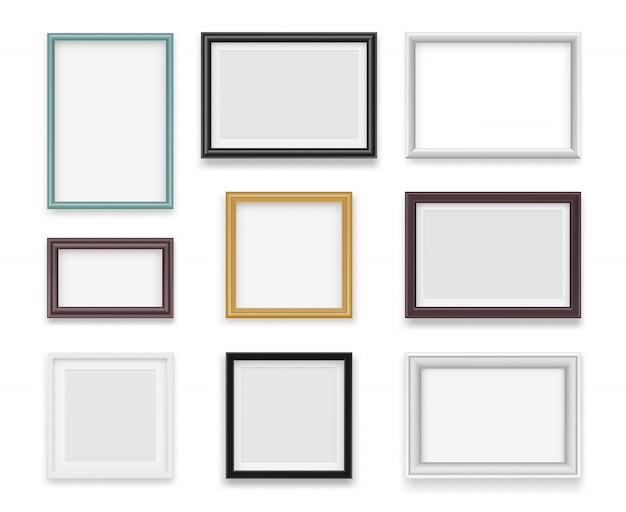 Vintage frames. wooden painting and photo empty boards for exhibition  template realistic Premium Vector