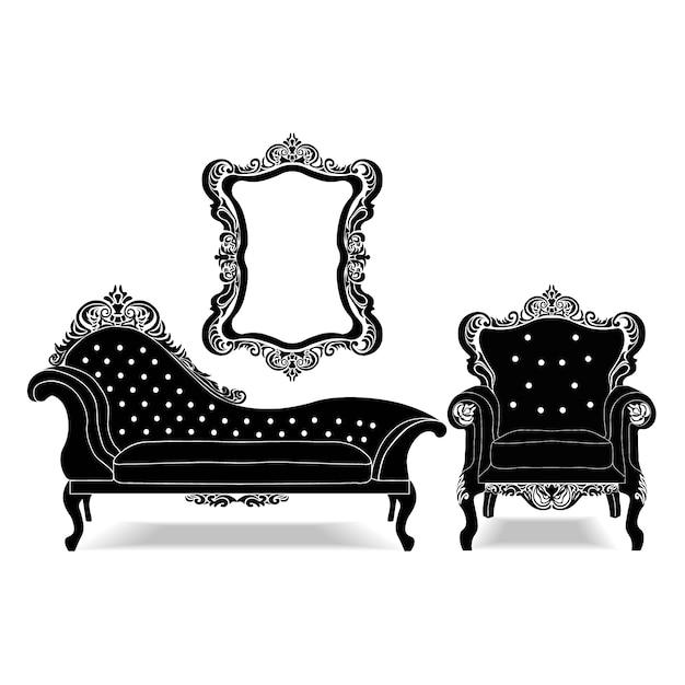 Vintage furniture collection vector free download for Sofa zeichnen