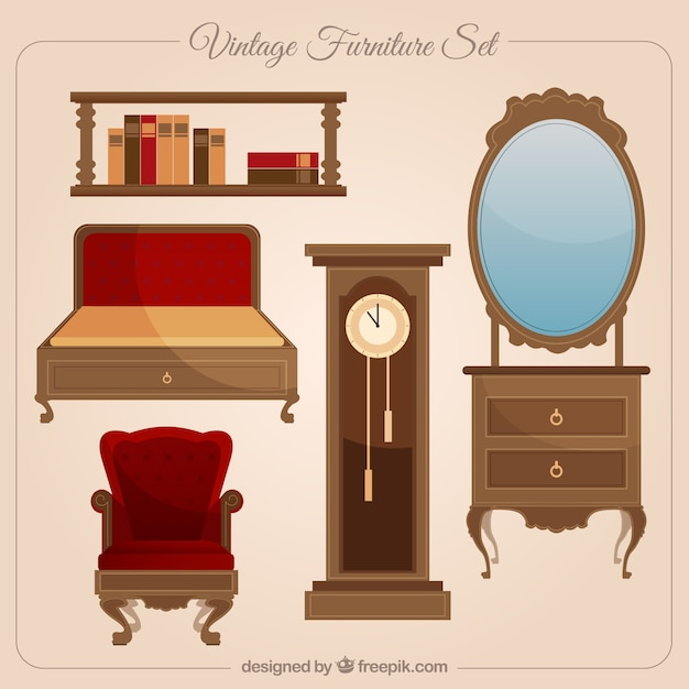 Vintage Furniture Collection Vector Free Download