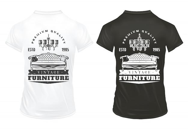 Винтажная мебель печатает шаблон с надписями ретро диван-люстра на черно-белой рубашке Бесплатные векторы