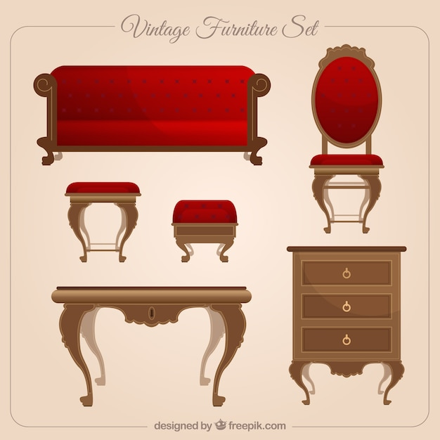 Vintage furniture set vector free download for Epoca muebles