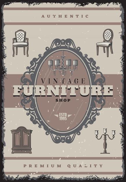 Старинная мебель магазин плакат с надписью ретро люстра подсвечник стулья зеркальный шкаф Бесплатные векторы