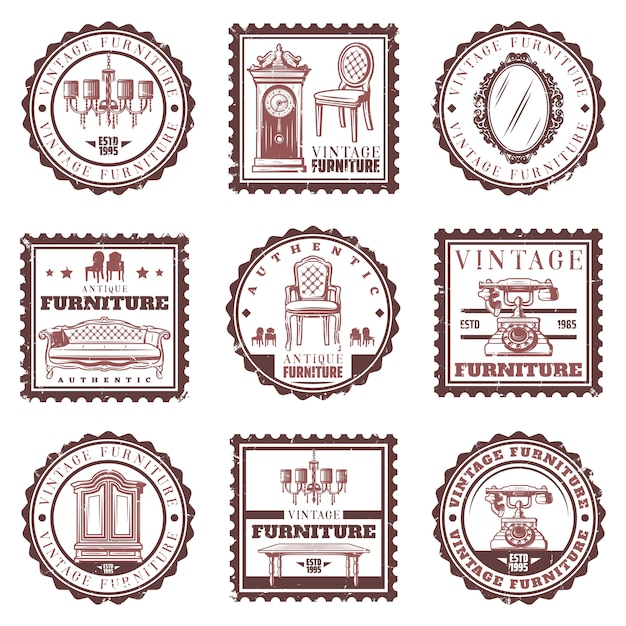 Старинная мебель марки с ретро диван, люстра, кресла, часы, зеркало, телефон, кабинет, стол Бесплатные векторы