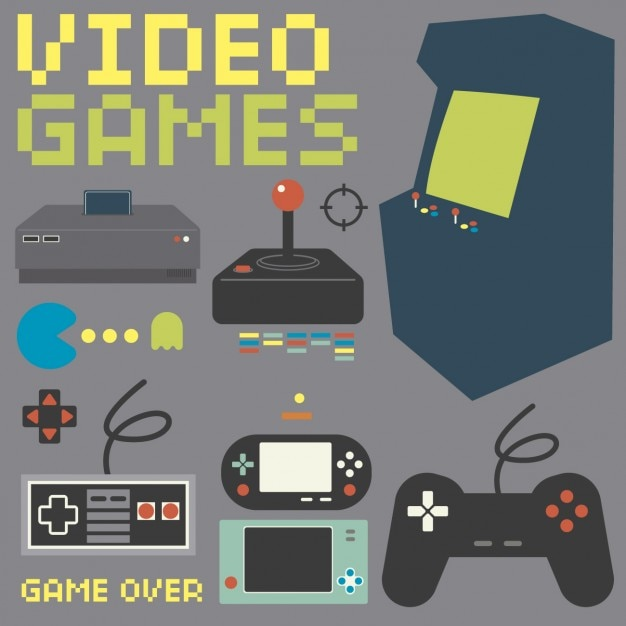 Vintage game console collection Vector | Free Download