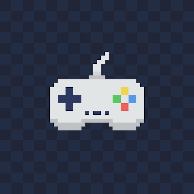 透明な背景にビンテージゲームパッド。ピクセルアートスタイルのジョイスティックのイラスト。 Premiumベクター