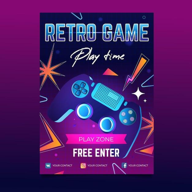Шаблон винтажного игрового плаката Бесплатные векторы