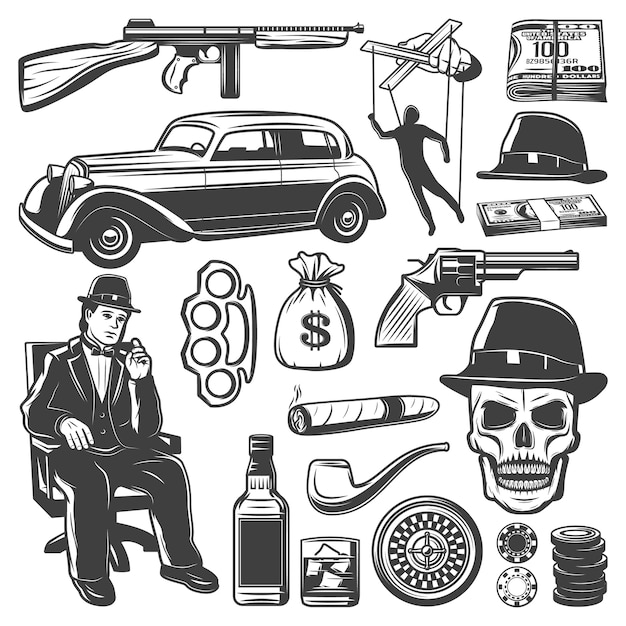 Vintage gangster elements collection with don weapon car money puppet whiskey smoking pipe cigar skull knuckle hat roulette chips isolated Free Vector
