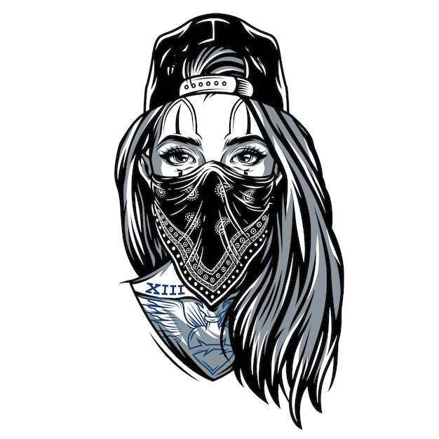 Винтажная гангстерская девушка в бейсболке Бесплатные векторы