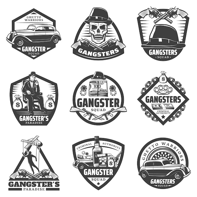 Vintage gangster labels set with mafia boss car weapon money gambling chips roulette skull hat whiskey isolated Free Vector