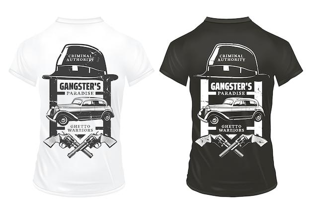 Винтажные гангстерские принты шаблон на рубашках с надписями шляпа скрещенные револьверы мафия классический ретро автомобиль изолированные Бесплатные векторы