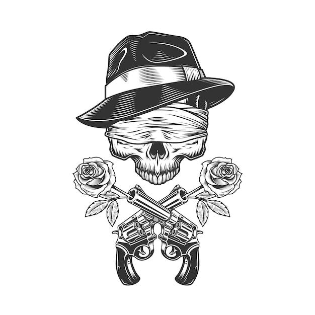 Старинный гангстерский череп в шляпе федора Бесплатные векторы