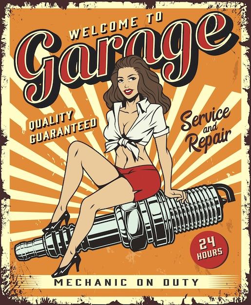 Modello di poster servizio garage vintage con pin up girl Vettore gratuito
