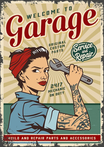 Vintage garage service poster template with pin up mechanic girl Free Vector