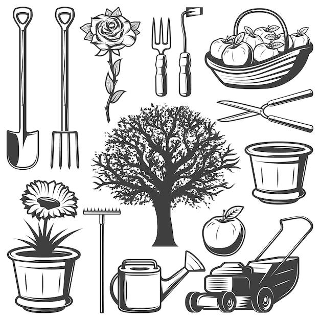 Collezione vintage garden elements Vettore gratuito